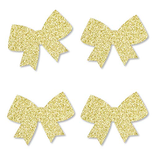 Gold Glitter Bow - No-Mess Real Gold Glitter Cut-Outs - Girl Baby Shower or Birthday Party Confetti - Set of 24]()
