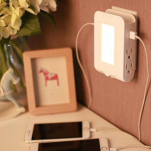 15a Lamp - Inverlee Dual 2.1A Multiple Port Quick Charge USB Wall Socket Night Light Lamp (White)