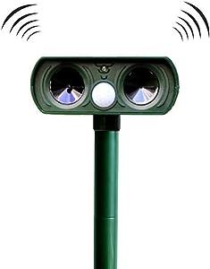 Bestn Solar Animal Repeller Ultrasonic Repellent Against Deer, Skunk, Dog, Opossum, Cats, Squirrels, Birds etc.-Outdoor Solar Powered, Motion Sensor, Flashing Light
