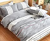 Striped Bedding Sets 100% Cotton - MeMoreCool Simple Style Duvet Cover and Fitted Sheet Home Textiles Good for Nake Sleep Family Gifts Queen