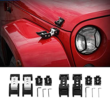 Color : Silver NO LOGO Car Lock Hood Latch Catch Fit For Jeep Wrangler JK 2007-2017 Car Engine Lock Cover Fit For Jeep Wrangler Car Accessories
