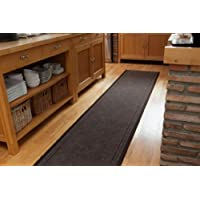 Dark Brown Custom Size No Skid Entrance Runner Rugs - Sold and Priced By The Foot - 2' 2' Wide