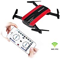 Hapinic Wifi FPV Quadcopter with Camera Foldable Arm Altitude Hold Headless Pocket Drone (Red)