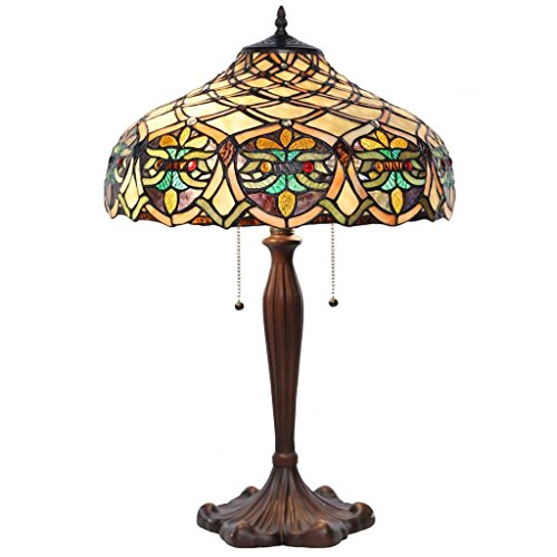 25'' H Tiffany Style Stained Glass Lattice Table Lamp by River of Goods