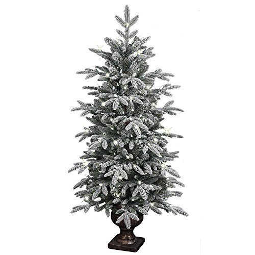 Aspen Fir Artificial Christmas Tree - GE 4.5-ft Pre-lit Aspen Fir Flocked Artificial Christmas Tree with 150 Sparkling White Pure White LED Lights