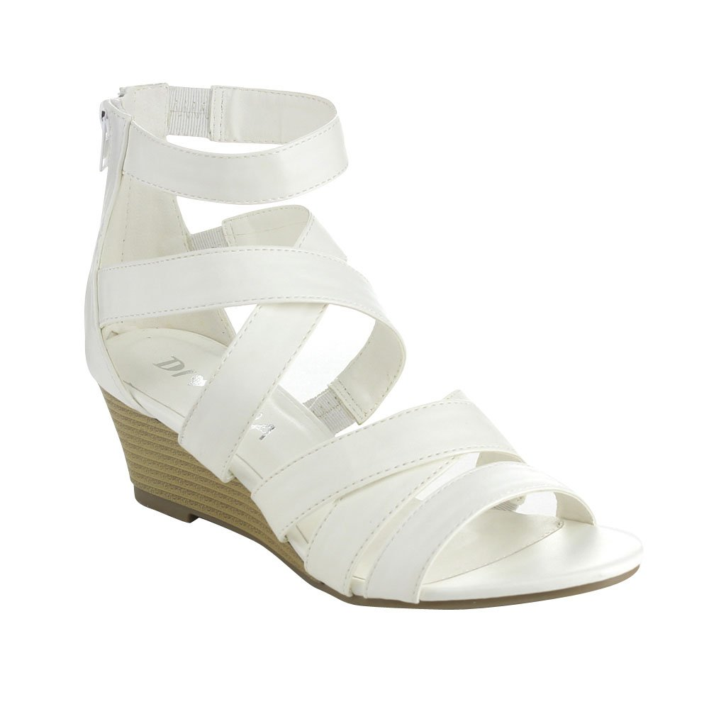 Diviana Nicki-16 Womens Criss Cross Strappy Back Zip Wedge Sandals B00T7NC00E 7.5 B(M) US|White