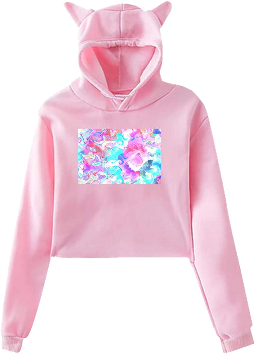 Fashion Sweatshirt Sweater Pink Personality Girl Cat Ears Umbilical Hoodie