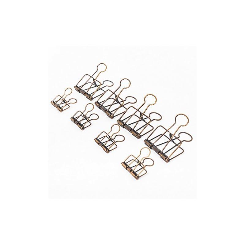 20PCS Assorted Size Skeleton Binder Clips, Rustic Antique Brass Paper Clamps 32mm 16PCS +51mm 4PCS, Copper