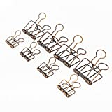 Assorted Size Skeleton Binder Clips, Rustic Antique Brass Paper Clamps 32mm 16PCS +51mm 4PCS, Copper