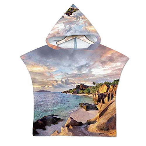 Seaside Decor Soft Hooded Beach Bath Towel,Tropical Rock Sandy Beach at Sunset in Island with Majestic Sky Light Art on Earth Photo for Teenagers & Children,23.6''W x 23.6''H