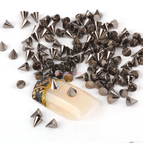 Nail Art Decoration By Catalina 100pcs Black Cone Metalic Spike Studs Nail Art Tiny Stick