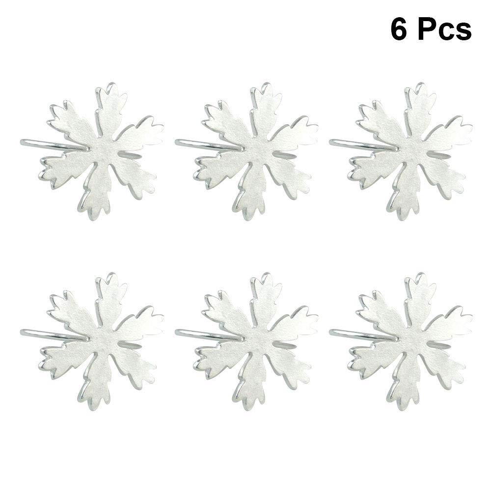 BESTONZON 6pcs portatovagliolo Christams fiocco di neve portatovaglioli in metallo Ringstable ornamentale ornamento per feste di nozze (argento)