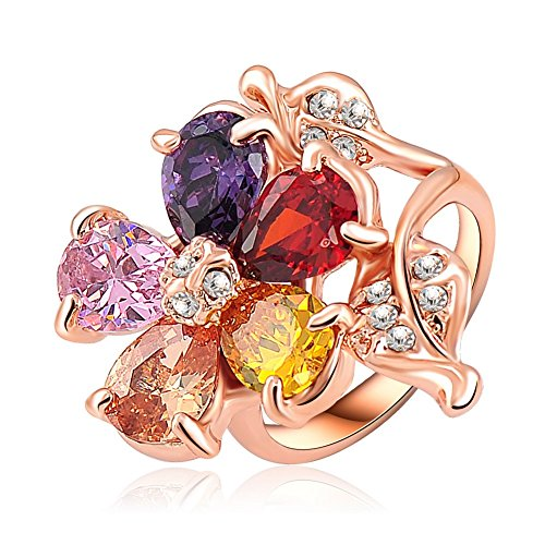 ABINA Valentines Gift Rings Rose Gold Plated Multicolor Austrian Flower Shape Engagement Rings 8.0