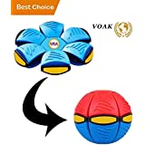 VOAK Frisbee ~ Ufo Magic Ball Flying Disc Flat Ball - Frisbee Ball Frisbee For Dogs Ufo Magic Ball and Frisbee - Healthy Family Fun Time and (Adults/Kids Indoor and Outdoor) - (RED/BLUE)