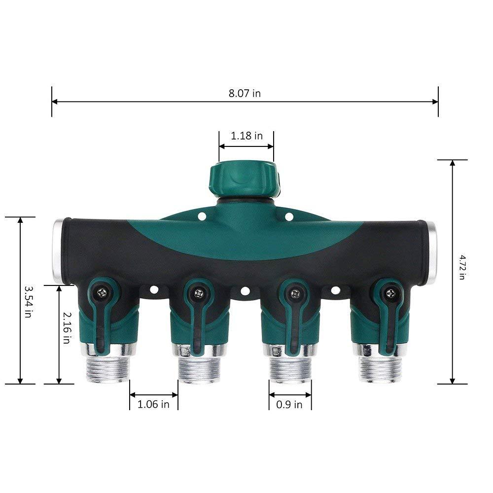 NUOCHEN Garden Hose Splitter 3/4 Inch 4 Way Hose Valve Splitter Faucet Connector Shut-Off Valve Watering and Irrigation by NUOCHEN