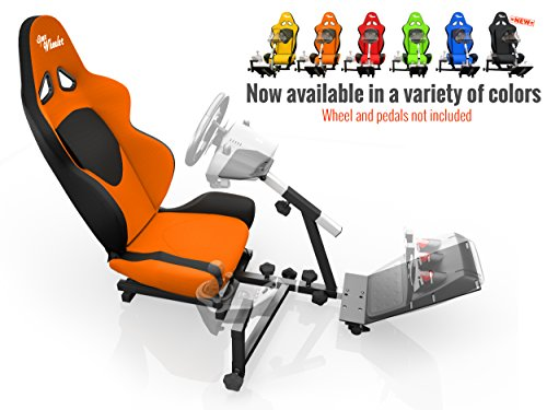 Openwheeler-Racing-Wheel-Stand-Cockpit-Orange-on-Black-For-Logitech-G29-G920-and-Logitech-G27-G25-Thrustmaster-Fanatec-Wheels-Racing-wheel-controllers-NOT-included