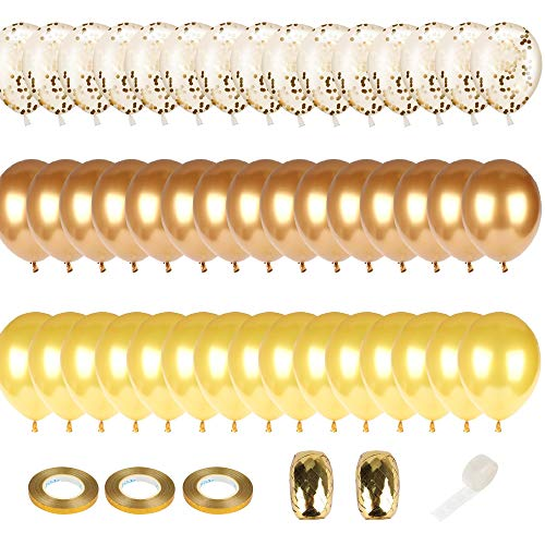 Eon Party Supplies | 75 Pack of Metallic Gold, Bright Gold & Gold Confetti Balloons | Perfect for Baby Showers, Graduation, Prom & Wedding Anniversaries | Complete Set With Balloon Straw & Strings (2) ()