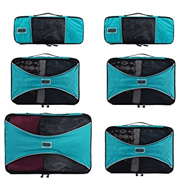 Pro Packing Cubes - 6 Piece Lightweight Travel Packing Cubes Set - Organizers and Compression Pouches System for Carry-on Luggage Accessories, Suitcase and Backpacking. Slim, Medium & Large (Aqua Blue)