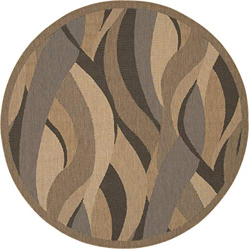 0154 Natural - Couristan 1562/0154 Recife Seagrass Natural/Black Rug, 7-Feet 6-Inch Round