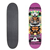 VOKUL 31'' X 8'' Complete Standard Skateboard Cruiser with 7 Layer Maple Wood Skateboard Deck for Kids Youths Adults (Black wheels)