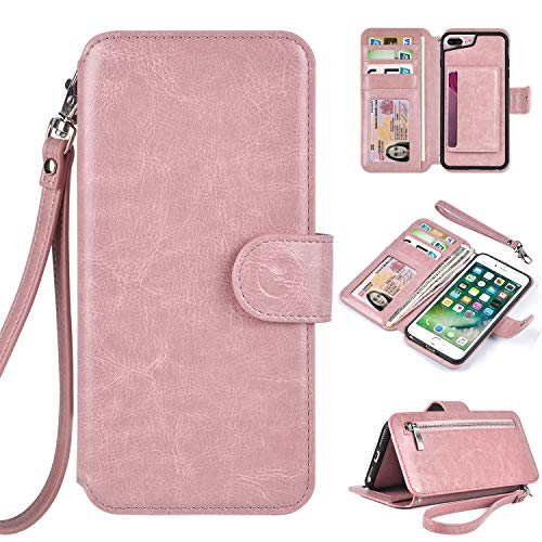 Humble Wallet Case Clutch Compatible with iPhone 8 Plus 7 Plus 6 Plus - Rose Gold Wristlet Case Boutique Quality Vegan Leather Pink - with Card Holder Clutch Purse for $<!--$19.99-->