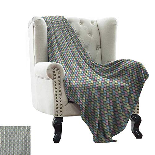 Abstract,Warm Microfiber All Season Blanket,Woven Soft Colored Geometric Stripes Crisscross Pattern Ornate Traditional Design 70