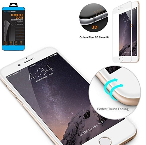MagicGuardz, Made for Apple 4.7 iPhone 7, 3D Full Cover Tempered Glass Carbon Fiber Screen Protector (White)