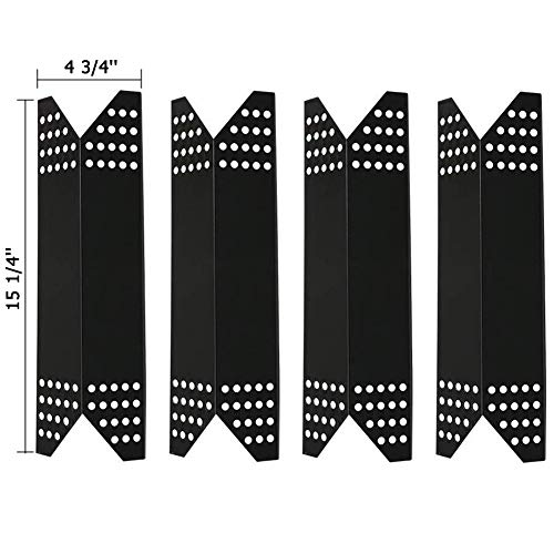 SHINESTAR Gas Grill Heat Shields for Members Mark Grill Parts 720-0691a, 720-0778a, 720-0778c, Nexgrill 720-0778a, 4-Pack 15 1/4 inch Porcelain Steel Heat Plate Tent Flame Tamers (SS-HP021)