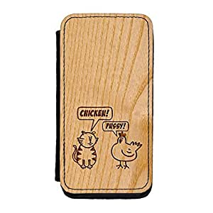 Carved on Wood Effect_Chicken and Pussy Premium Faux PU Leather Case, Protective Hard Cover Flip Case for iPhone 5C by Chargrilled