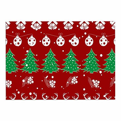 "durable service KESS InHouse FM1084ADM02 Famenxt ""Christmas Vibes Red"" Red Green Illustration Dog Place Mat, 24"" x 15"""