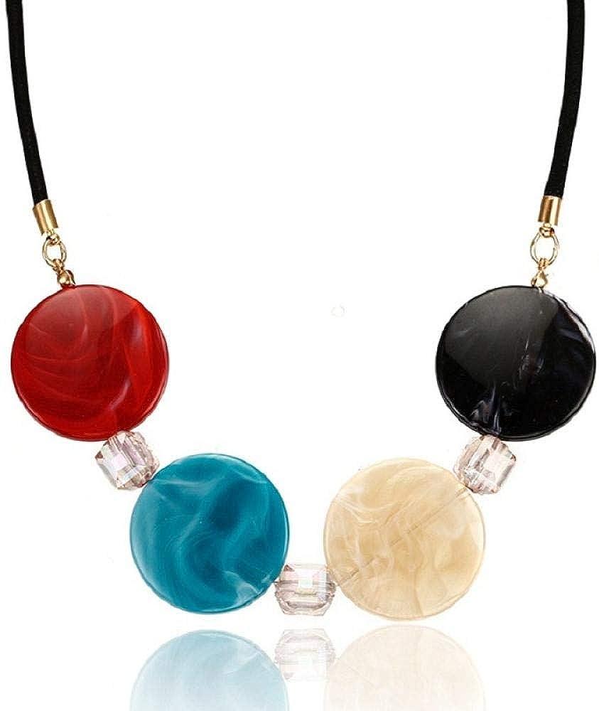 Foxmool Colgante De Collar De Borla Larga De Moda con Piedras Preciosas Y Perlas Collar De Acrílico Bohemio Vintage