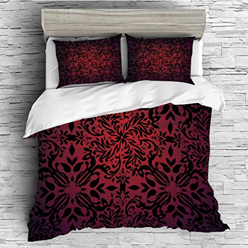 SCOCICI King Size Duvet Cover Set/Red and Black,Tribal Mandala Ethnic Oriental Design Flowers and Leaves Frame Image Decorative,Vermilion Black / 3 Piece Bedding (Raven Fabric Black Frame)