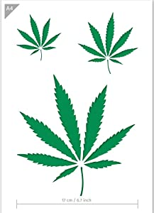 Qbix Cannabis Leaves Stencil - A4 Size - Reusable Kids Friendly DIY Stencil for Painting, Baking, Crafts, Wall, Furniture
