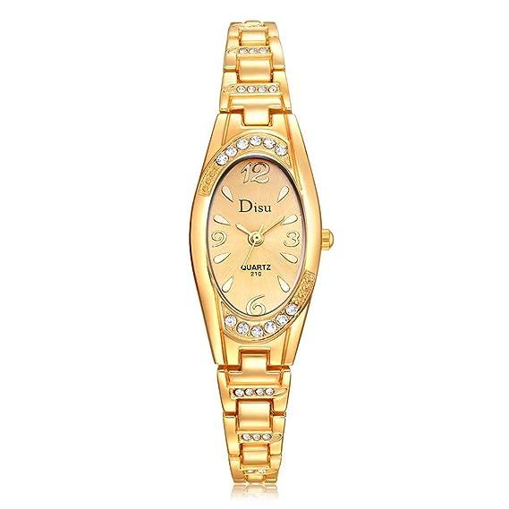 DressLksnf Reloj de Rectangular Lujo Moda de Mujer Pulsera Coloreado Deportiva Banda de Reloj con Diamante