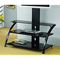 Coaster 700617 Metal and Glass TV Stand, Black