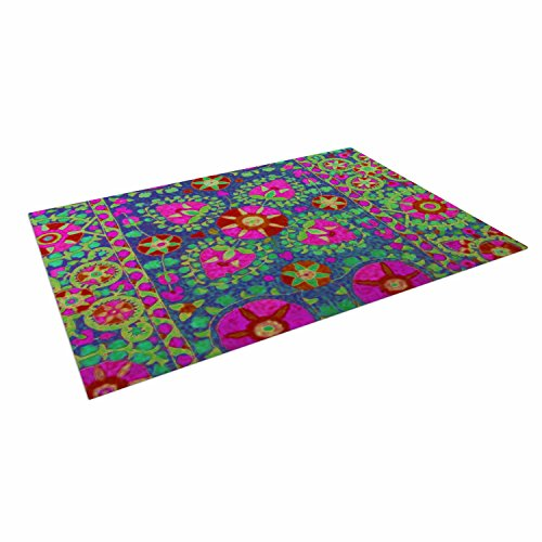 KESS InHouse S Seema Z ''Kashmeer Love'' Green Pattern Outdoor Floor Mat, 4' x 5' by Kess InHouse