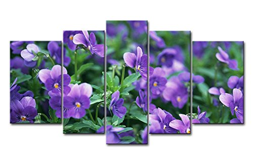 Purple Violets 5 Pieces Panel Paintings Modern