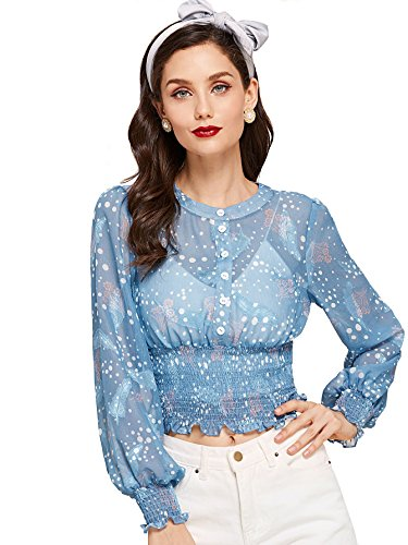 (MAKEMECHIC Women's Vintage Bishop Long Sleeve Smocked Hem Polka Dot Crop Blouse Blue M)