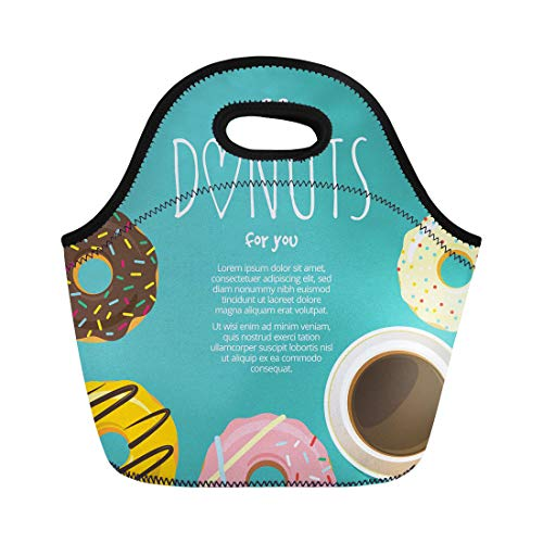 Icing Tea Saucer - Semtomn Lunch Tote Bag Cup of Coffee Hot Chocolate and Donuts Around Sweet Reusable Neoprene Insulated Thermal Outdoor Picnic Lunchbox for Men Women