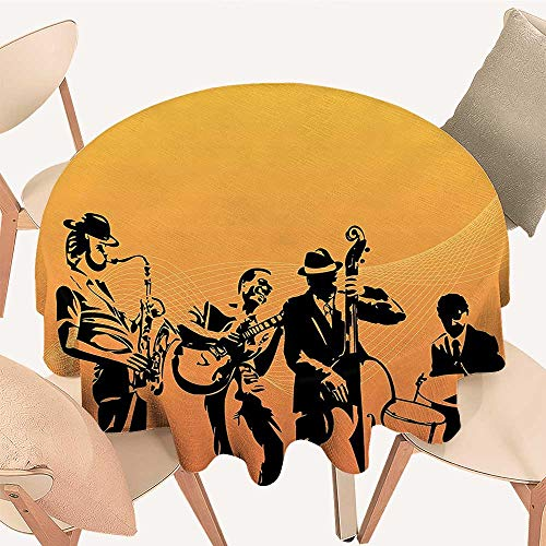 Round Polyester Tablecloth Table Cover Silhouette of Jazz Quartet Performing On Stage Acoustic Passion Old Style Art for Most Home Decor, 39 INCH -