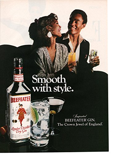 """Magazine Print Ad: 1986 Beefeater London Distilled Dry Gin, African American couple,""""Smooth with style"""""""