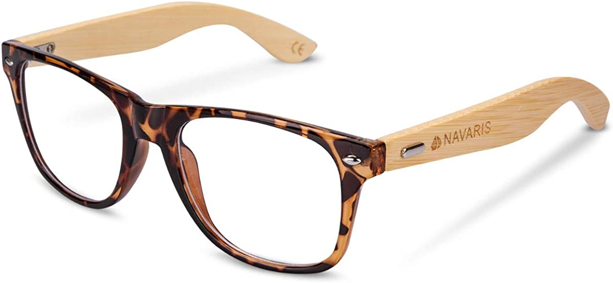 Navaris gafas para el ordenador de bambú - Gafas antifatiga con patillas de madera - Gafas retro para hombre y mujer con filtro de luz azul - Negro