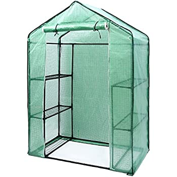 "Ohuhu Small Walk-in Plants Greenhouse, 3-Tier 6-Shelf Stands Garden Green House, 56.3""x 28.7""x 76.7"""