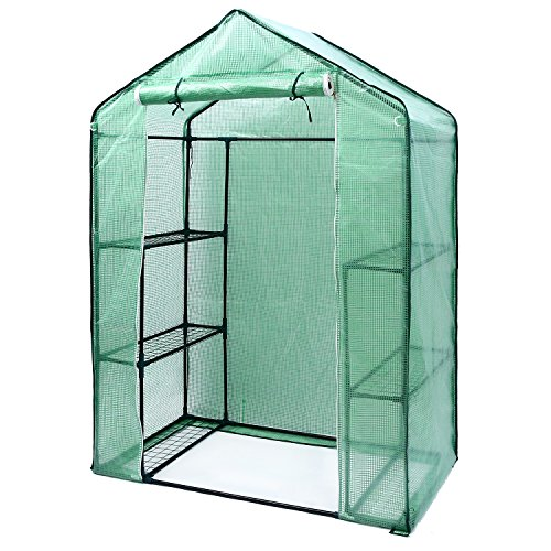 Ohuhu Small Walk-in Plants Greenhouse, 3-Tier 6-Shelf Stands Garden Green House, 56.3