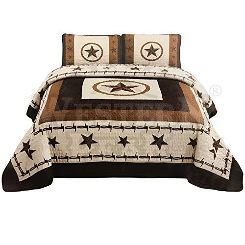 Western Peak 3 Pcs Western Texas Star Cabin Lodge Barbed Wire Luxury Quilt Bedspread Comforter Brown Beige (Oversized - Bedding Sedona Set