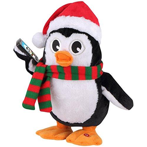 Gemmy Side Stepper Bailador Lateral Penguin with Santa Hat Taking Selfie