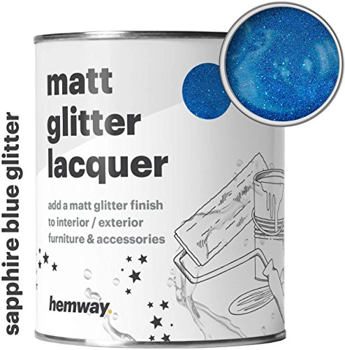 (Hemway Sapphire Blue Glitter Matt Varnish Lacquer Quick Dry Sparkling Glaze Interior Exterior, Furniture, Accessories, Brick, Wood, Stone, Plaster, Plastic, Tiles (1 Litre/Quart))