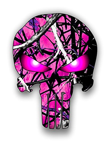 - Hot pink camouflage punisher sticker / decal **Free Shipping**