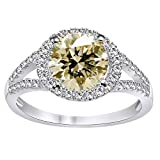 RINGJEWEL 2.55 ct VVS1 Round Moissanite Engagement Silver Plated Ring Off White Brown Color Size 7