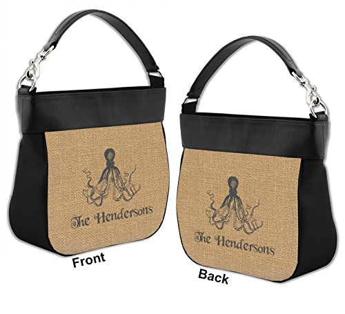 Purse Genuine Leather Front amp; w Octopus amp; Print Burlap Back Trim Hobo Personalized zIYq04x